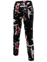 Flag Print Slim-Fit Pants