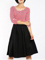 Scoop Neck 3/4 Sleeve Striped A-Line Women's Dress -