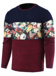 Color Block Splicing Floral Print Round Neck Long Sleeve Sweater For Men - RED