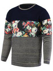 Color Block Splicing Floral Print Round Neck Long Sleeve Sweater For Men - GRAY