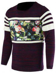 Color Block Splicing Flower Print Round Neck Long Sleeve Sweater For Men - PURPLE