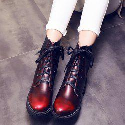 Trendy Splicing and Lace-Up Design Short Boots For Women -