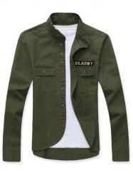 Stand Collar Single Breasted Applique Long Sleeve Jacket For Men - ARMY GREEN