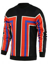 Color Block Geometric Print Stand Collar Long Sleeve Sweatshirt For Men