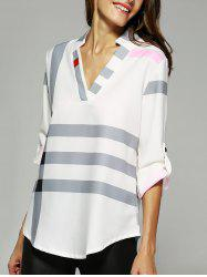 V Neck Color Block Blouse - Blanc