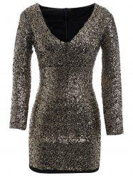 Plus Size Sequin Long Sleeve Glitter Short Club Dress