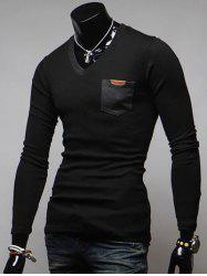 Breast Pocket V-Neck Long Sleeve T-Shirt - BLACK