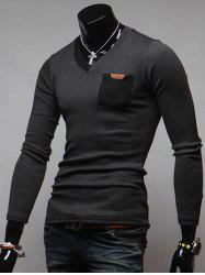Breast Pocket V-Neck Long Sleeve T-Shirt