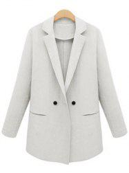 Lapel Neck Button Design Blazer - WHITE