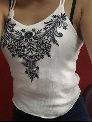 Spaghetti Strap Embroidery Embellished Women's Tank Top
