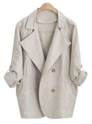 Turn Down Collar Loose-Fitting Thin Coat - APRICOT XL