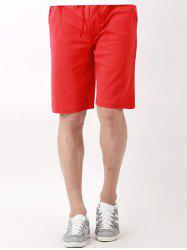 Drawstring Slant Side Pocket Knee Length Board Shorts