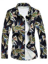Long Sleeve Turn-Down Collar Withered Leaf Printed Sport Shirt - BLUE 2XL
