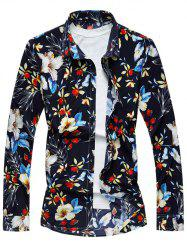 Turndown Collar Long Sleeve Floral Hawaiian Shirt