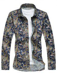 Retro Turn-Down Collar Long Sleeve Abstract Printed Shirt - PURPLISH BLUE