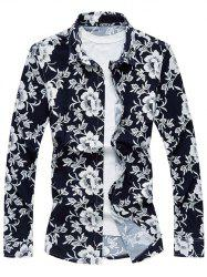 Long Sleeve Turndown Collar Floral Sport Shirt