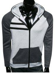Zip Up Color Splicing Raglan Sleeve Hoodie