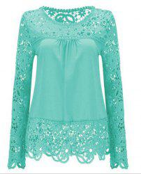 Solid Color Lace Spliced Hollow Out Blouse - LIGHT BLUE 2XL
