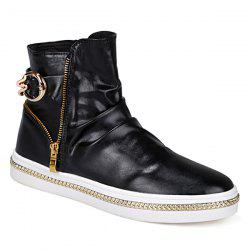Casual Metal and Zip Closure Design Boots For Men - BLACK