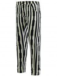 Striped Zipper Fly Skinny Tapered Pants For Men -