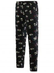 Rose Skull Print Zipper Fly Skinny Tapered Pants For Men