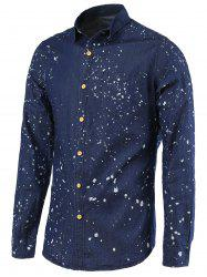 Splash-Ink Turn-Down Collar Long Sleeve Denim Shirt For Men -