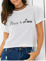 Letter Pattern Short Sleeve Round Neck T-Shirt -