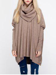 Oversized Turtleneck Tunic Long Sweater - CAMEL