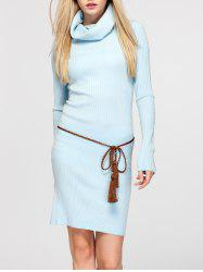 Cowl Neck Fitted Sweater Dress - LIGHT BLUE