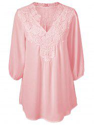 Blouse Oversize  en Crochet Superposition Col Tunisien -