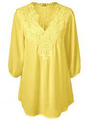 Plus Size Sweet Crochet Spliced Tunic Blouse - YELLOW