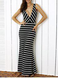 Plunge Stripe Open Back Maxi Prom Evening Dress - WHITE AND BLACK