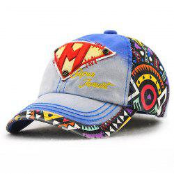 Stylish Letter M and Inverted Triangle Embroidery Doodle Pattern Baseball Hat For Kids - SAPPHIRE BLUE