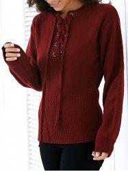 Fashion Round Neck Long Sleeve Solid Color Lace Up Sweater For Women