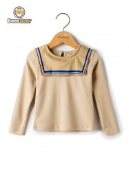 Simple Style Sailor Collar Long Sleeve T-Shirt -