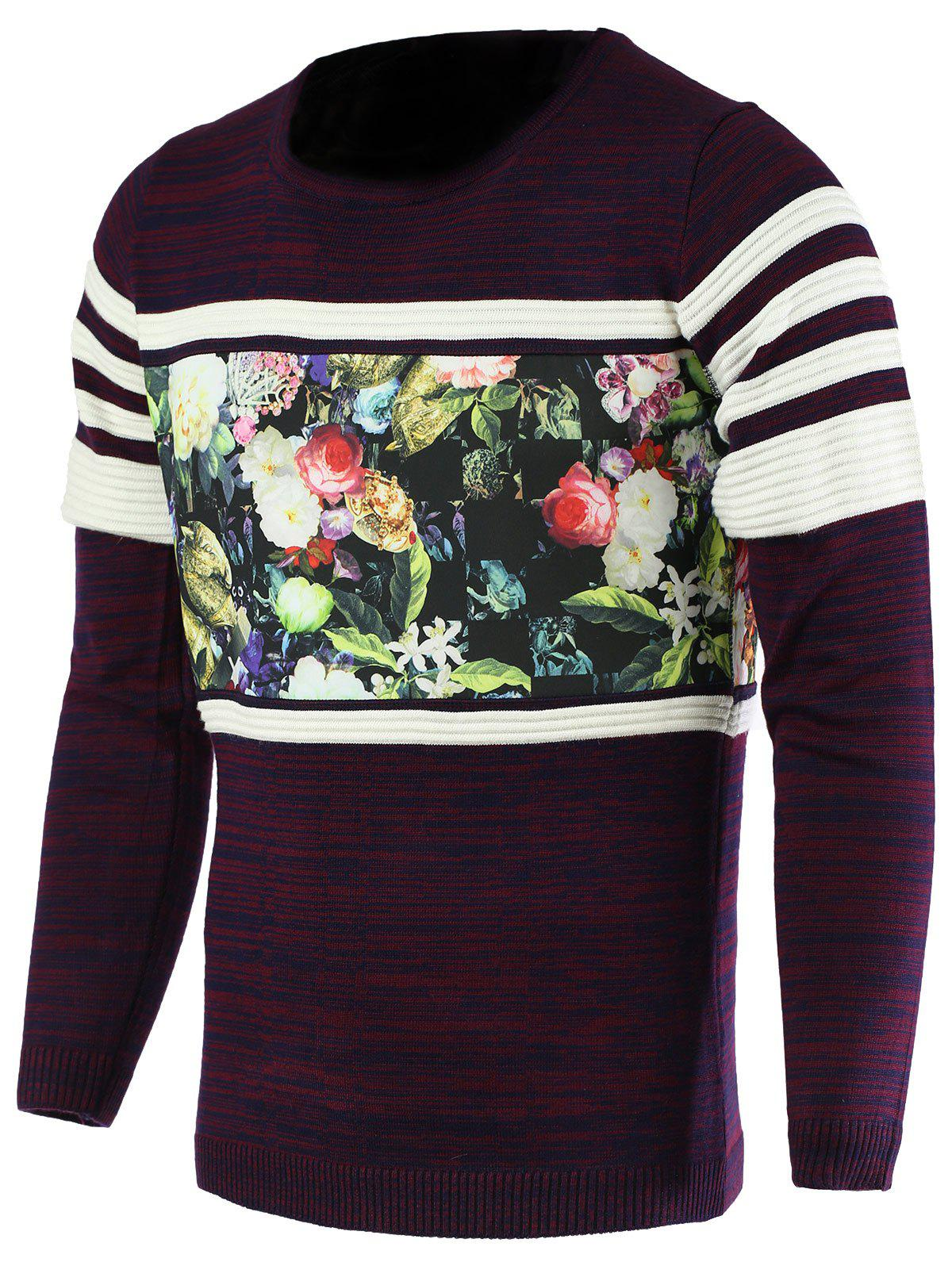 Unique Color Block Splicing Flower Print Round Neck Long Sleeve Sweater For Men