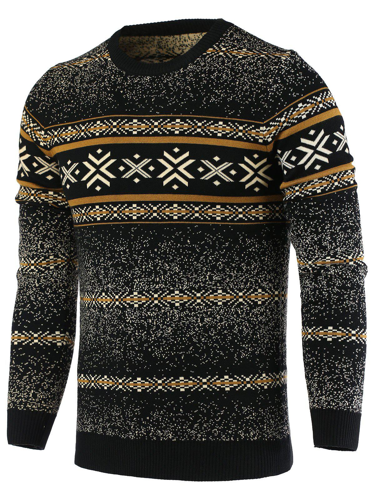 Best Snowflake Pattern Round Neck Long Sleeve Sweater For Men