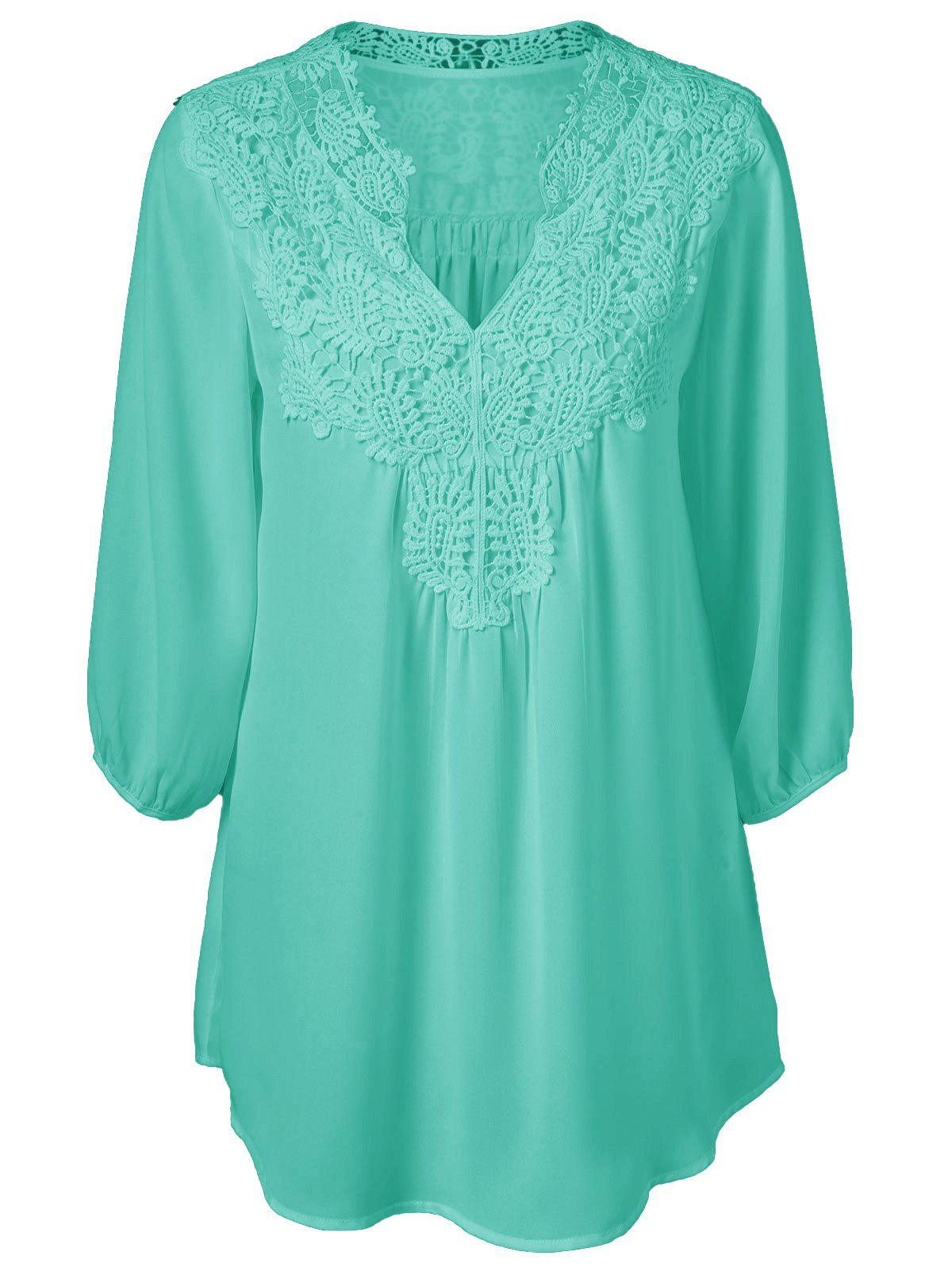 Plus Size Sweet Crochet Spliced Tunic BlouseWOMEN<br><br>Size: 3XL; Color: GREEN; Material: Polyester; Shirt Length: Long; Sleeve Length: Three Quarter; Collar: V-Neck; Style: Casual; Season: Summer; Pattern Type: Patchwork; Weight: 0.2310kg; Package Contents: 1 x Blouse;