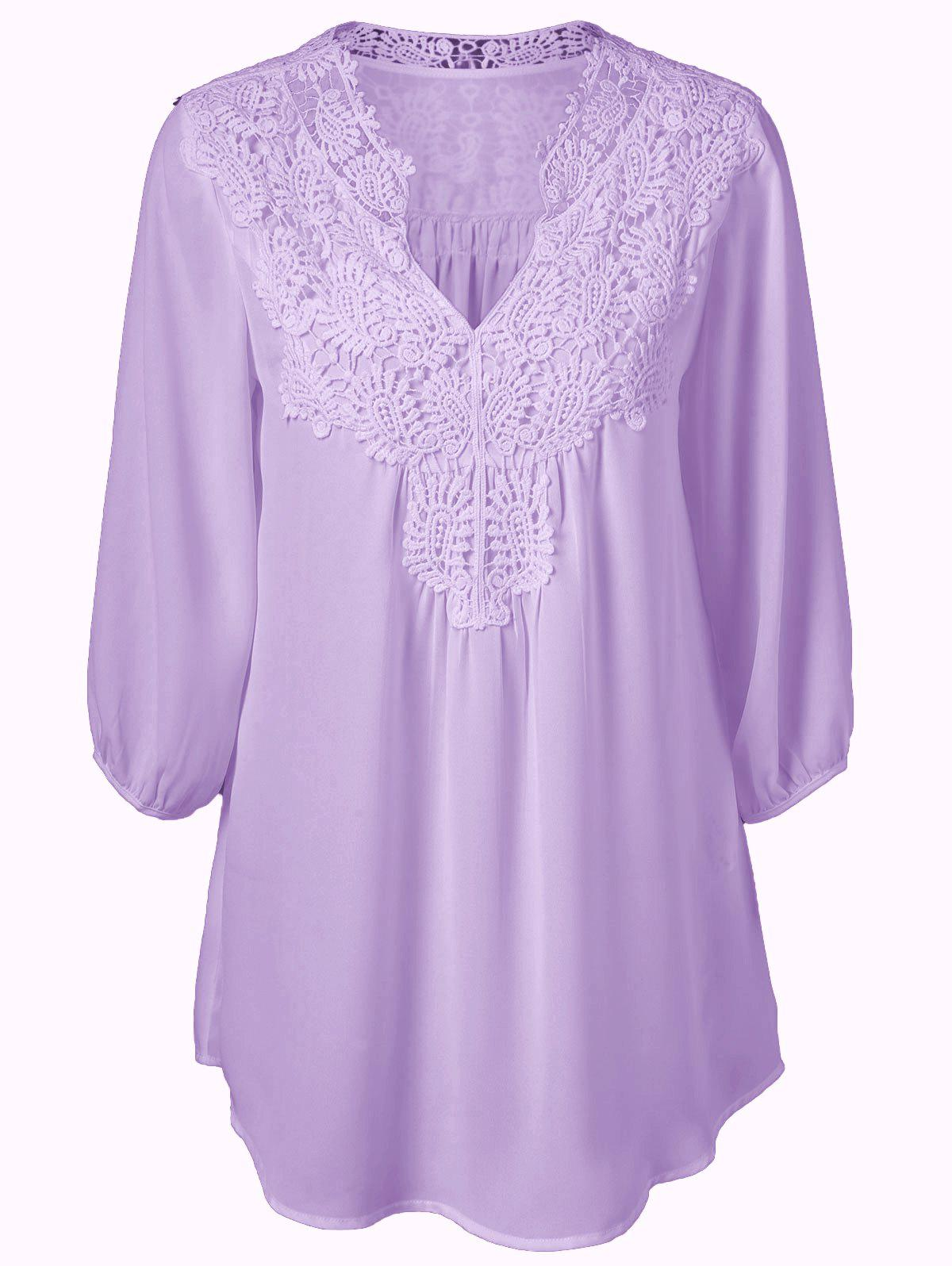 Plus Size Sweet Crochet Spliced Tunic BlouseWOMEN<br><br>Size: XL; Color: PURPLE; Material: Polyester; Shirt Length: Long; Sleeve Length: Three Quarter; Collar: V-Neck; Style: Casual; Season: Summer; Pattern Type: Patchwork; Weight: 0.2310kg; Package Contents: 1 x Blouse;