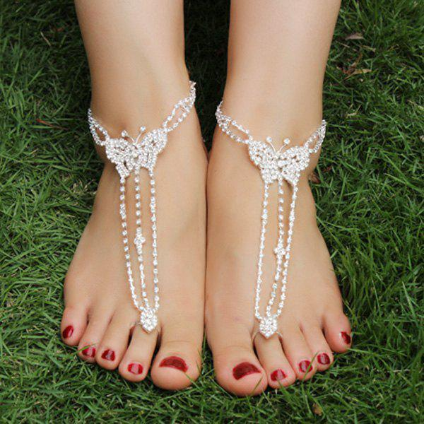 Pair of Rhinestoned Butterfly AnkletsJEWELRY<br><br>Color: SILVER; Gender: For Women; Style: Noble and Elegant; Shape/Pattern: Insect; Weight: 0.050kg; Package Contents: 1 x Anklet (Pair);