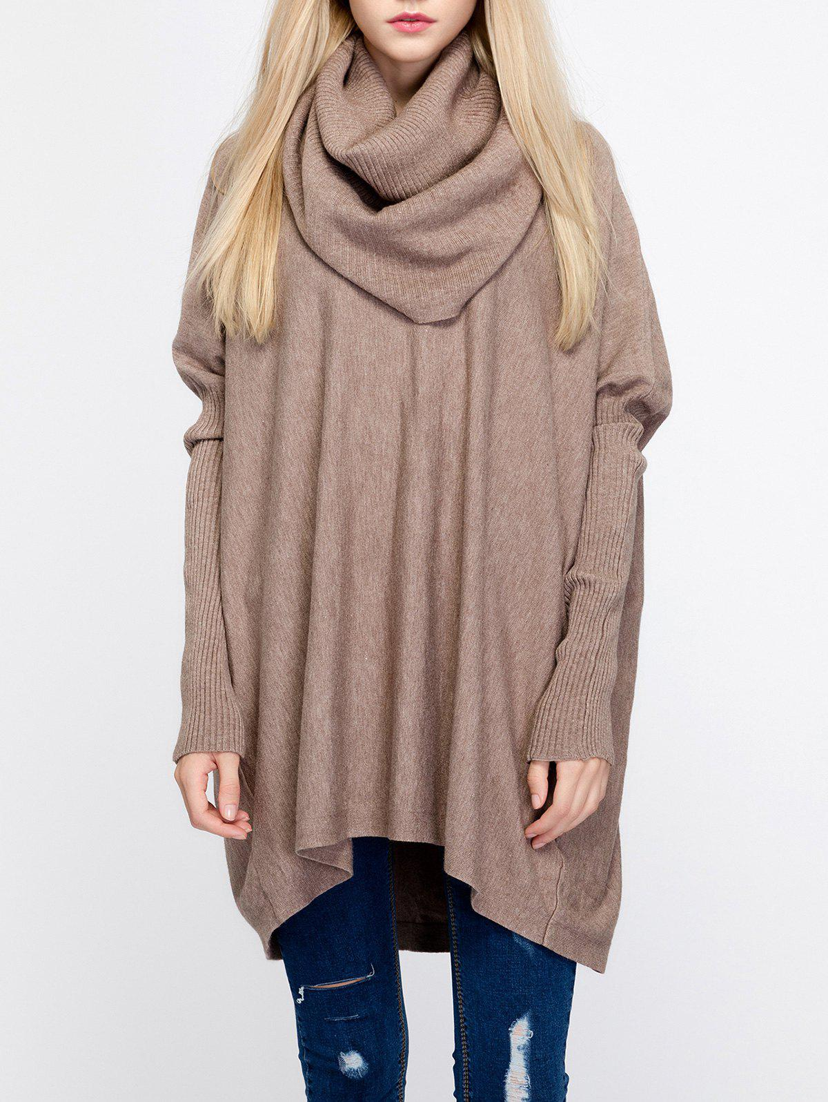 Oversized Turtleneck Tunic Long SweaterWOMEN<br><br>Size: ONE SIZE; Color: CAMEL; Type: Pullovers; Material: Nylon; Sleeve Length: Full; Collar: Turtleneck; Style: Fashion; Pattern Type: Solid; Season: Fall,Spring,Winter; Weight: 0.432kg; Package Contents: 1 x Sweater;