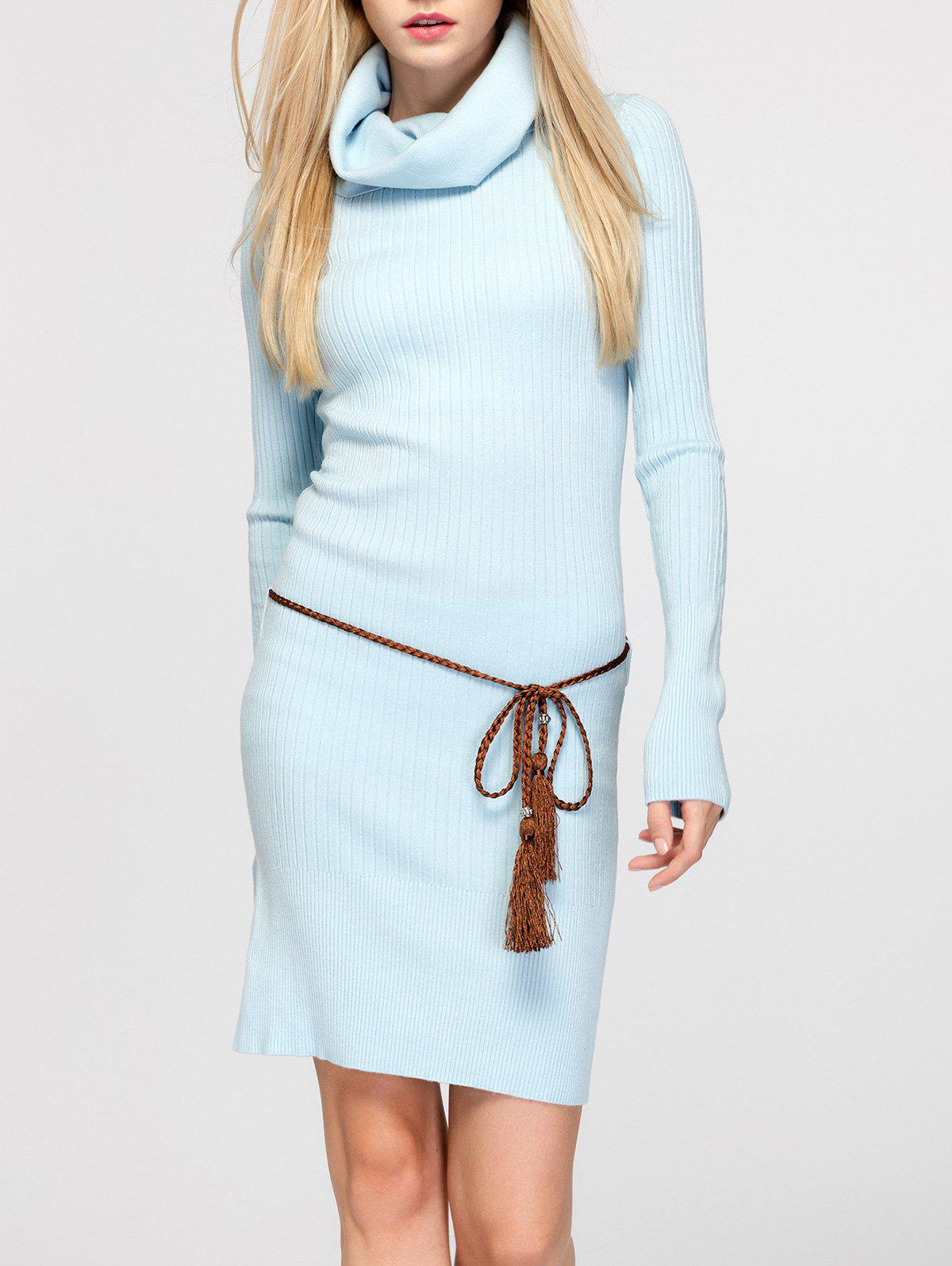 Light Blue One Size Cowl Neck Fitted Sweater Dress | RoseGal.com