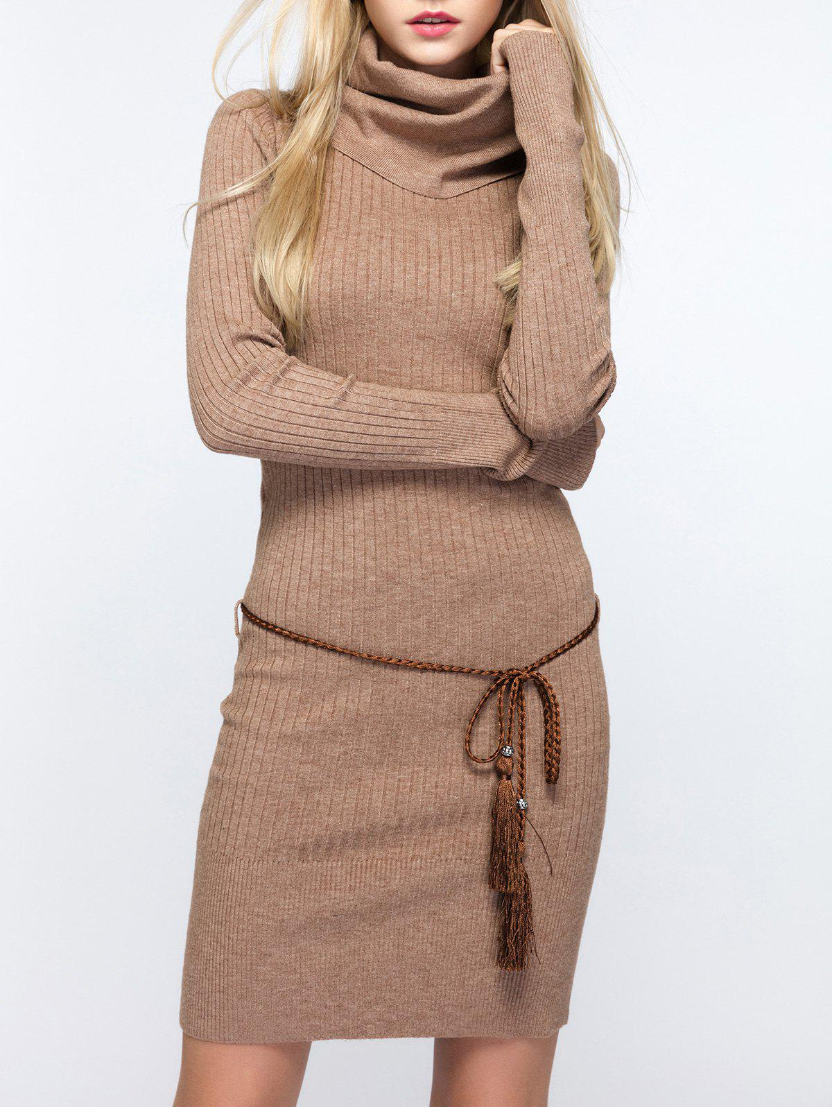 Outfits Cowl Neck Fitted Sweater Dress