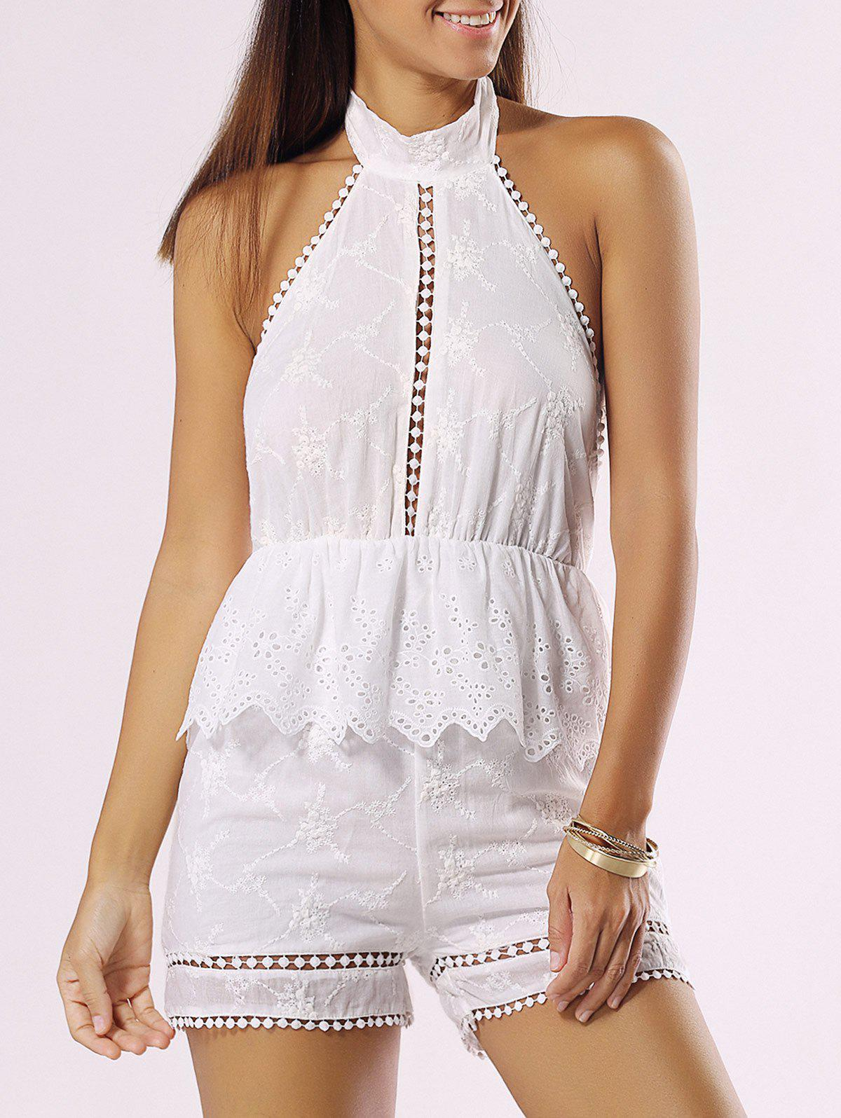 Unique Halter Backless Cut Out Ruffle Romper