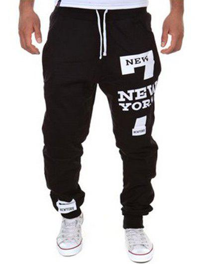 Shops Slimming Trendy Lace-Up Letter Number Print Beam Feet Polyester Men's Sweatpants