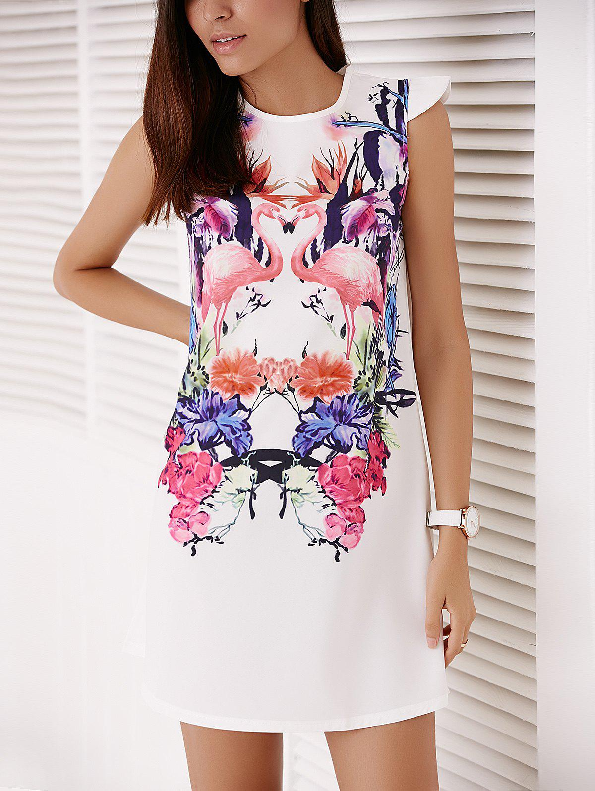 Best Colorful Crane and Floral Printed Straight Dress For Women