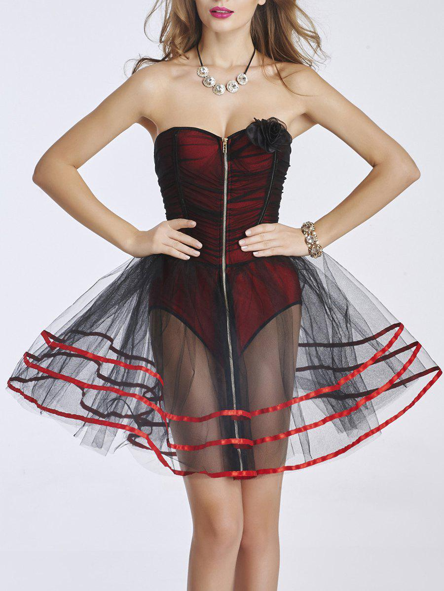 Discount Strapless Zipped Mesh Dress