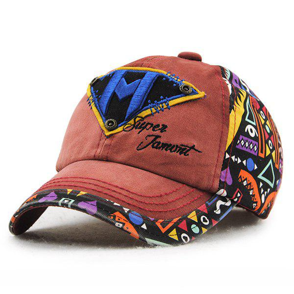 Fancy Stylish Letter M and Inverted Triangle Embroidery Doodle Pattern Baseball Hat For Kids