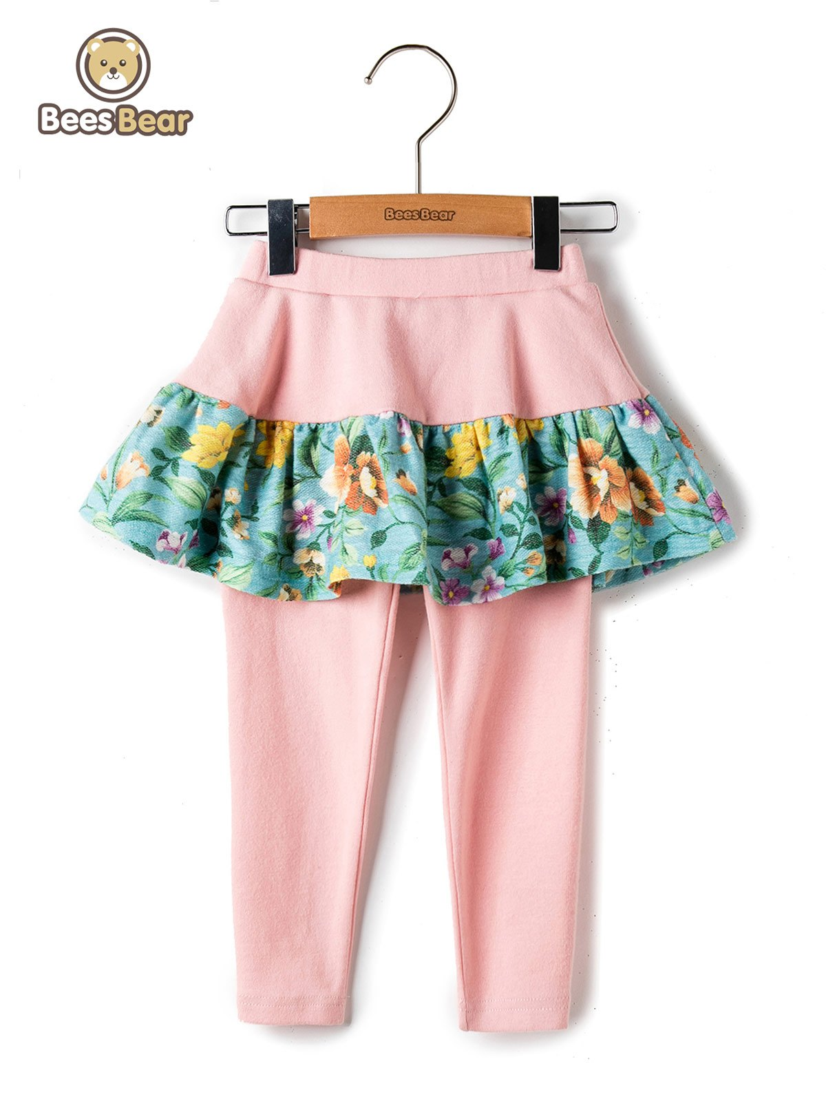 Shops Stylish Elastic Waist Floral Print Faux Twinset Pants