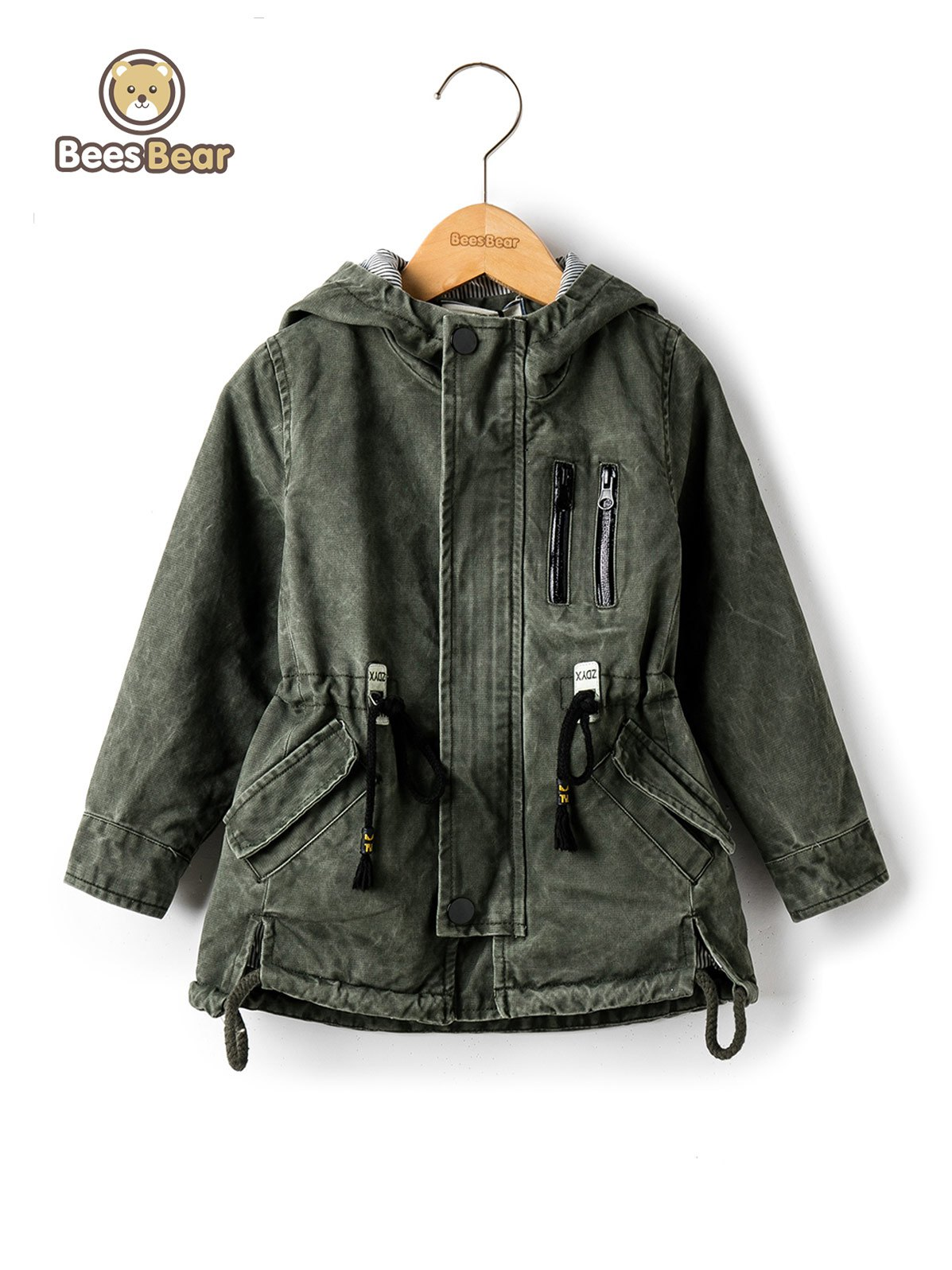 Discount Stylish Hooded Pocket Design Drawstring Jacket